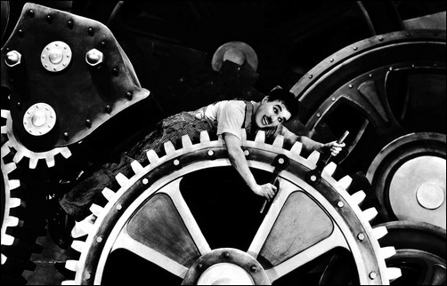 Les temps_modernes, Charles Chaplin - Charlot engrenage